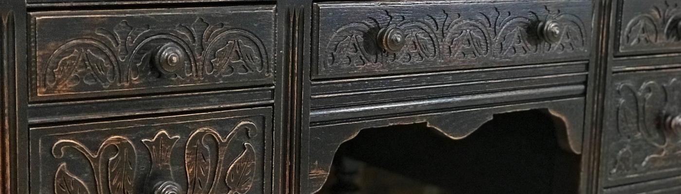 Antique furniture painting example- desk
